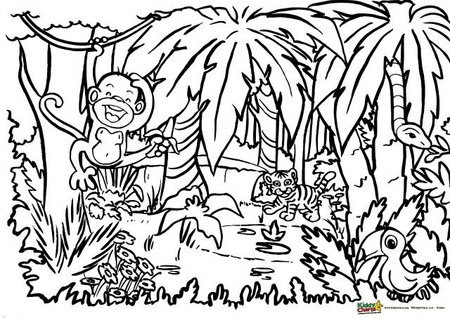 coloring pages jungle scenes - photo#17