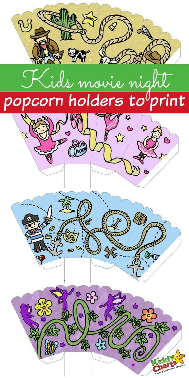 Kids Movie Night Popcorn Holders to Print