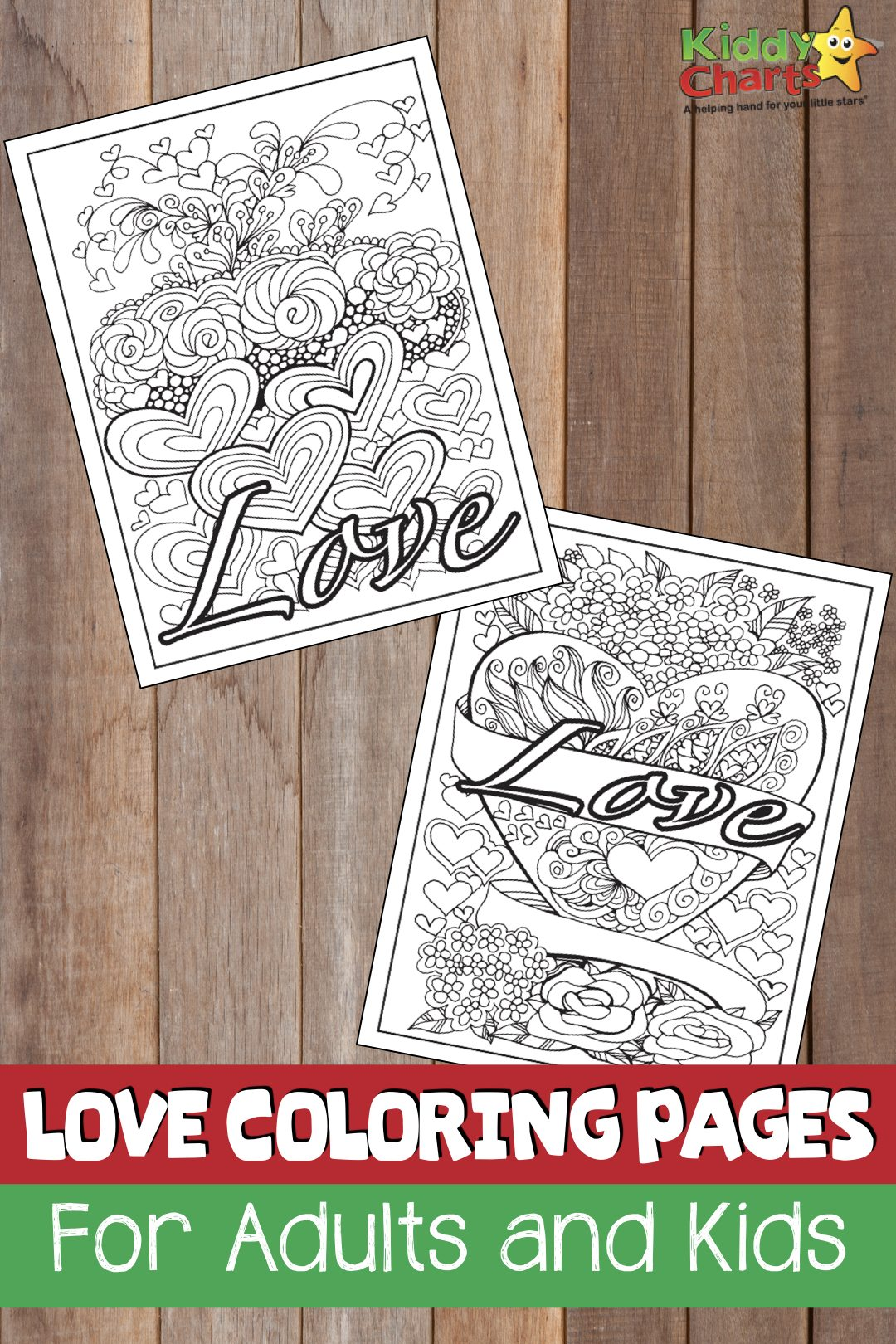 Love coloring pages for adults and kids