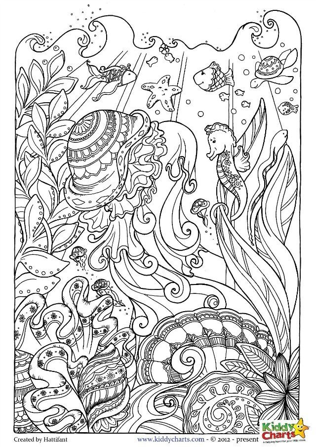 Lovely Ocean Coloring Page For Adults