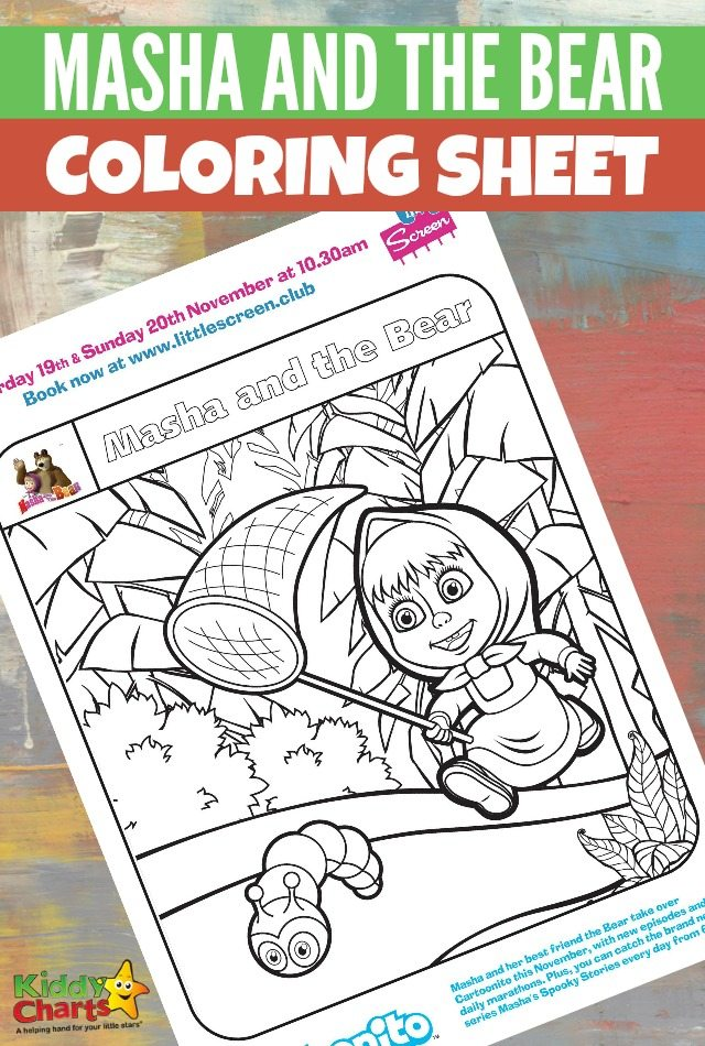 Masha and the bear colouring sheet