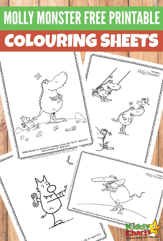 Molly Monster Free Printable Colouring Sheets for Kids