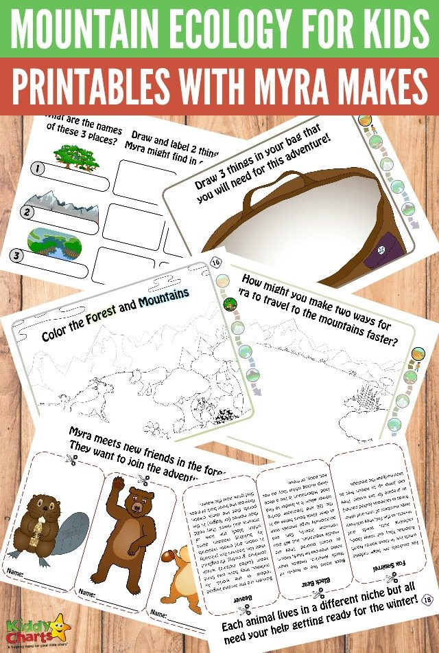 Mountain ecology for kids printables with Myra Makes #freeprintablesforkids #ecologyprintables #printableactivities