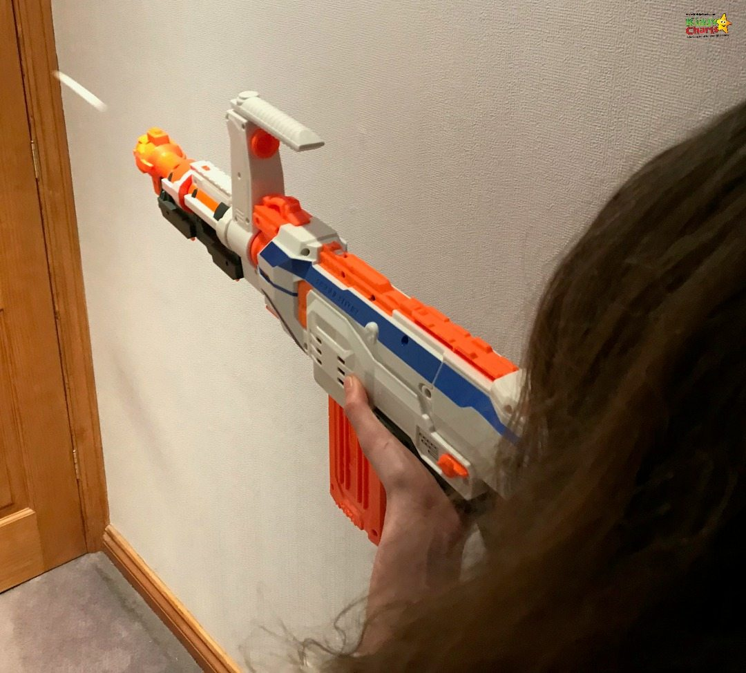 The obligatory action shot with the Nerf Gun - daughter getting stuck into the door!