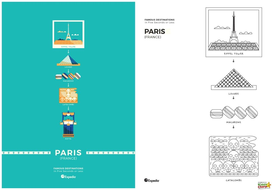 Paris World Cities Coloring poster