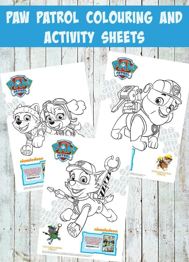 Paw Patrol Colouring and Activity Sheets for kids