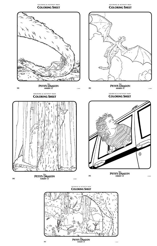Pete's Dragon Colouring Pages