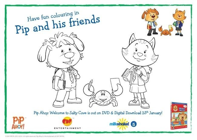 Pip Ahoy-Back to School Colouring Page