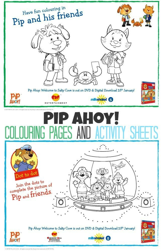 Pip Ahoy Colouring pages and Activity Sheets For Kids