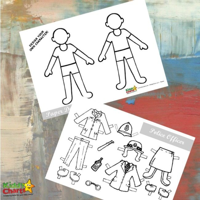 Policeman paper doll free printable activity