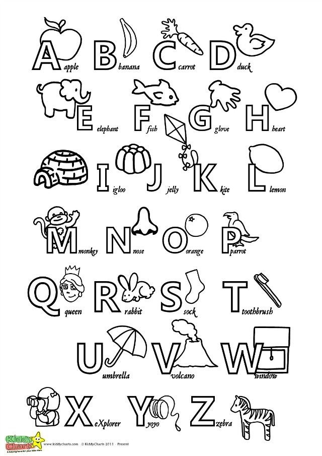 Crush image inside printable alphabet chart black and white