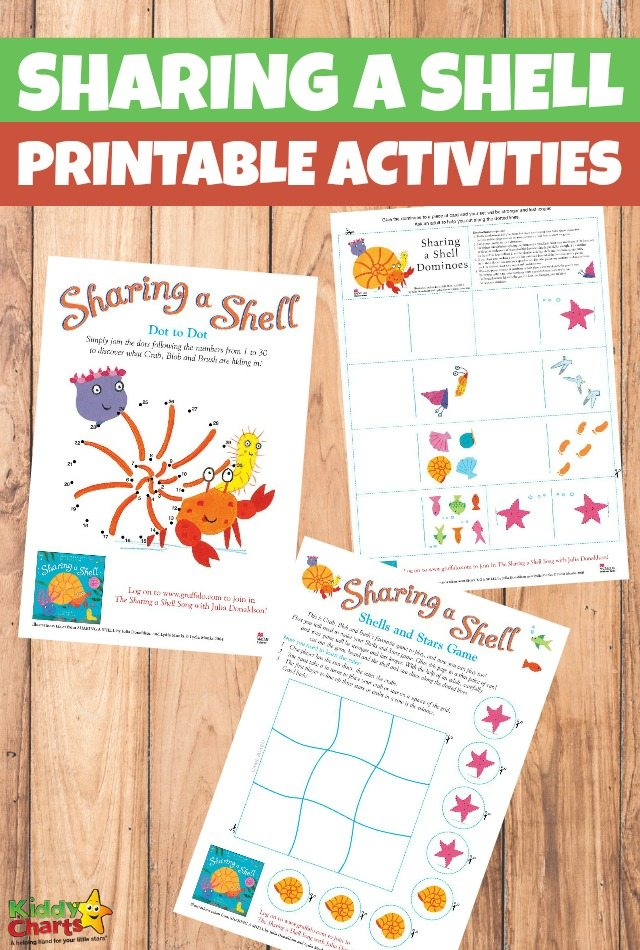 Printable Sharing a Shell Activities for Kids