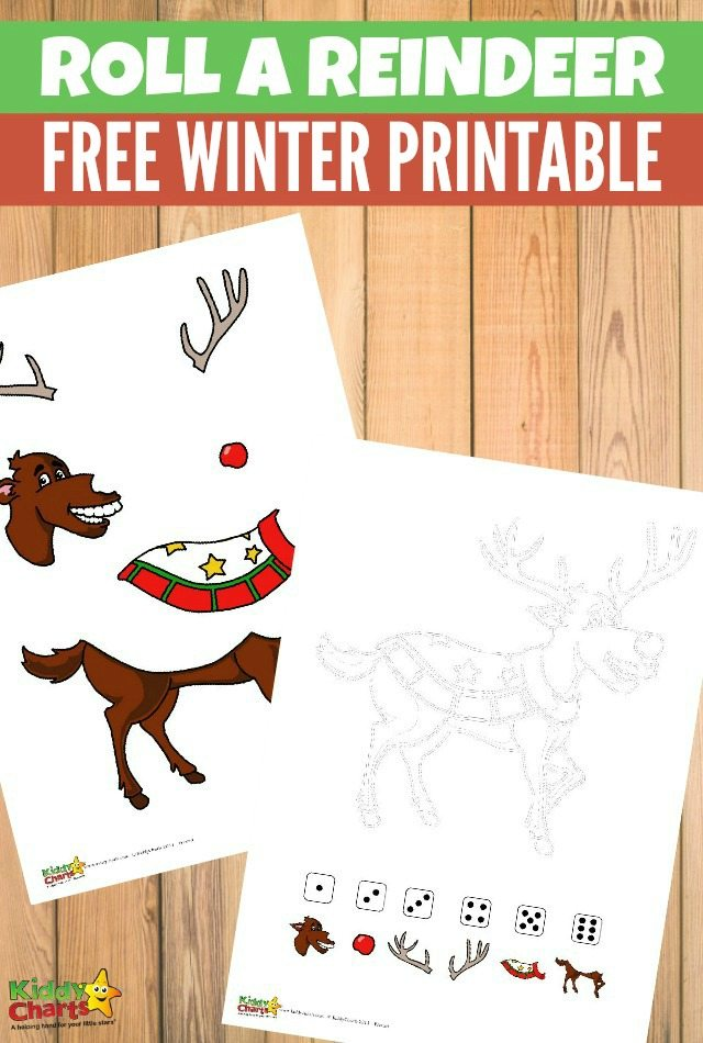 Roll a reindeer free Christmas printable game