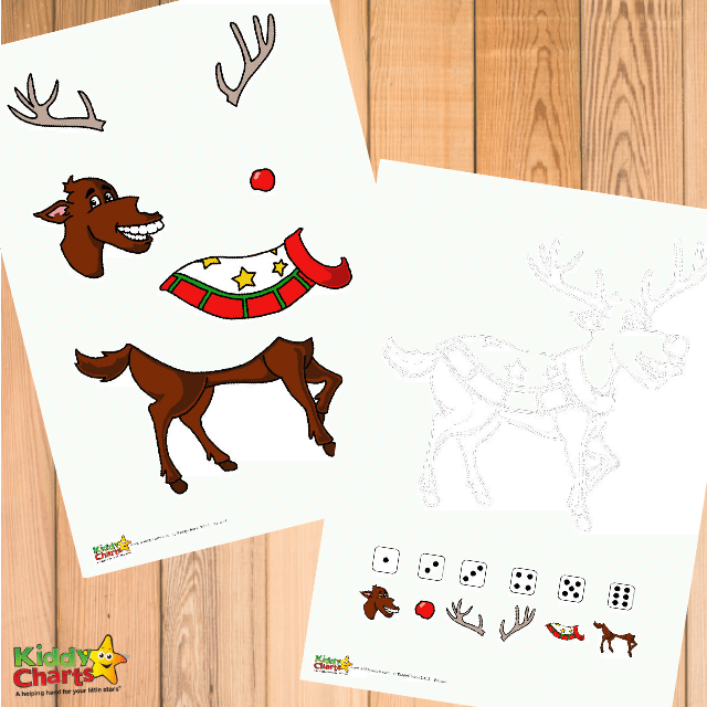 Roll a reindeer free printable game for little ones