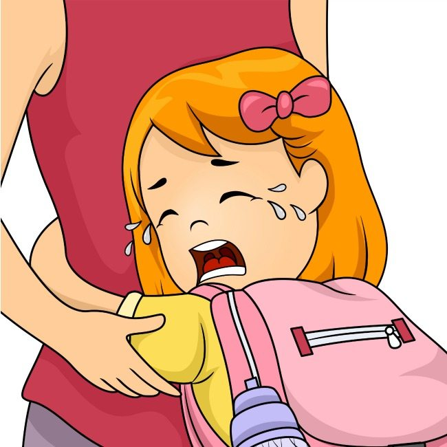 cartoon image of child with separation anxiety crying and holding to their mother