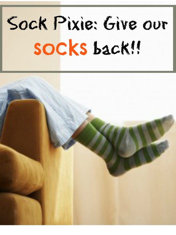 Do you have a sock pixie in your house?  Our pixie takes our socks and never brings them back!