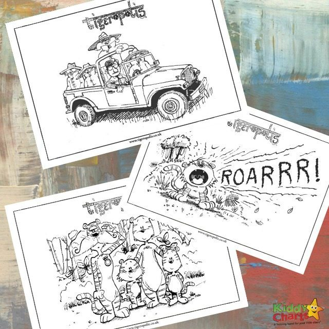 Tiger coloring pages and activity sheets