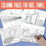 Colouring pages for kids: travel