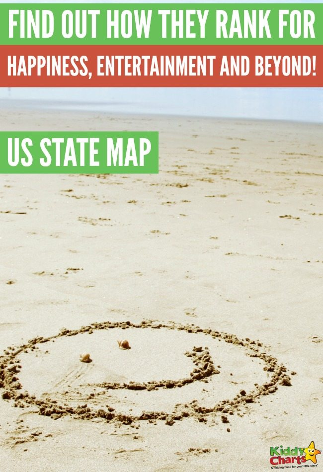 US State Map Find out how they rank for happiness, entertainment and beyond! #holidays #usa #happiness