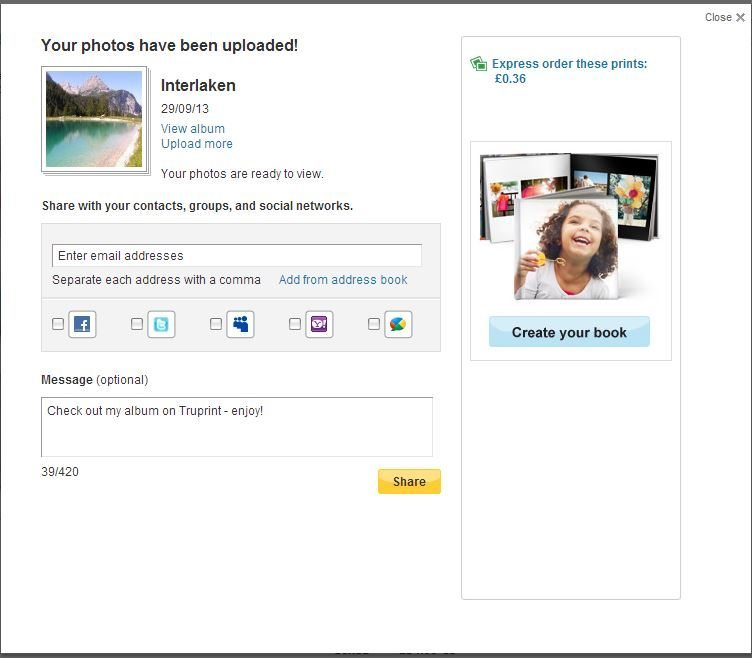 Truprint Photo Gifts: Uploading