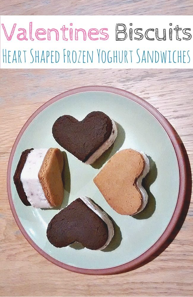 Valentines Biscuits: Heart shaped frozen yoghurt sandwiches