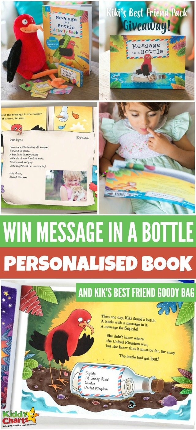 Win Message in a Bottle personalised book and Kik's best friend goody bag #KiddyChartsAdvent #Giveaways #Messageinabottle
