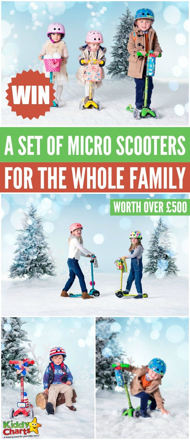 Win a set of Micro scooters for the whole family worth over £500 #KiddyChartsAdvent #Giveaways #freestuff