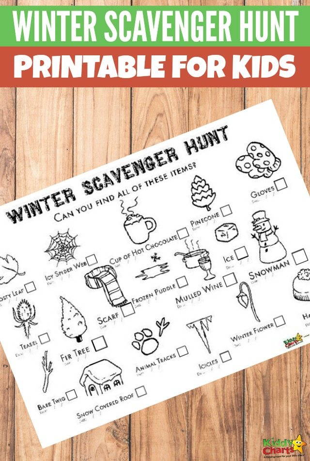 Winter scavenger hunt: And you can colour it in too! #freeprintablesforkids #printableactivity #scavengerhunt
