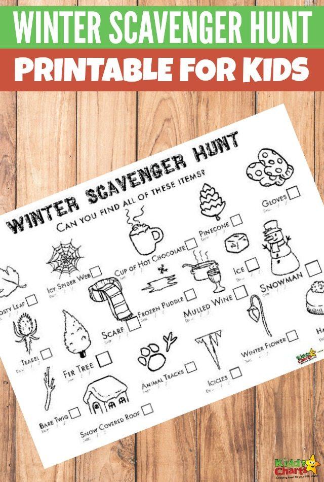 Winter scavenger hunt: And you can colour it in too! #freeprintablesforkids #printableactivity #scavengerhunt