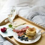 Romantic breakfast: Heart-shaped American style pancakes