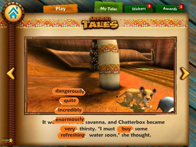 During gameplay you build you book, and you can change the adjectives within the story afterwards...