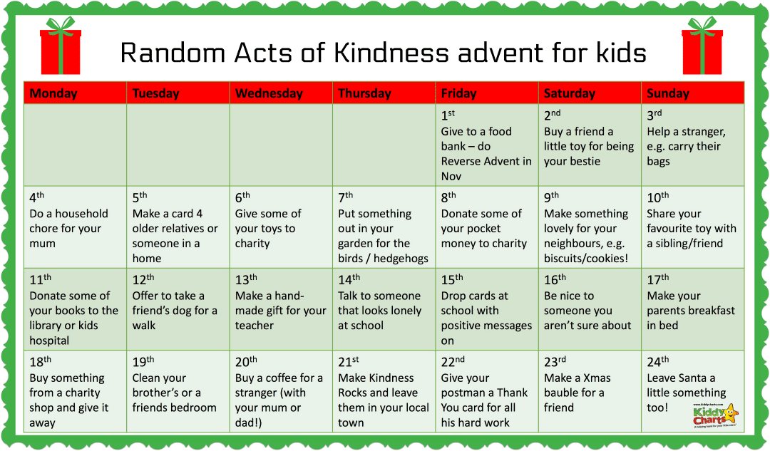 As part of our #52KindWeeks, we bring you the Kindness Advent Calendar for kids for Christmas that gives back - 24 kind acts in December! #adventcalendar #BeKind2017