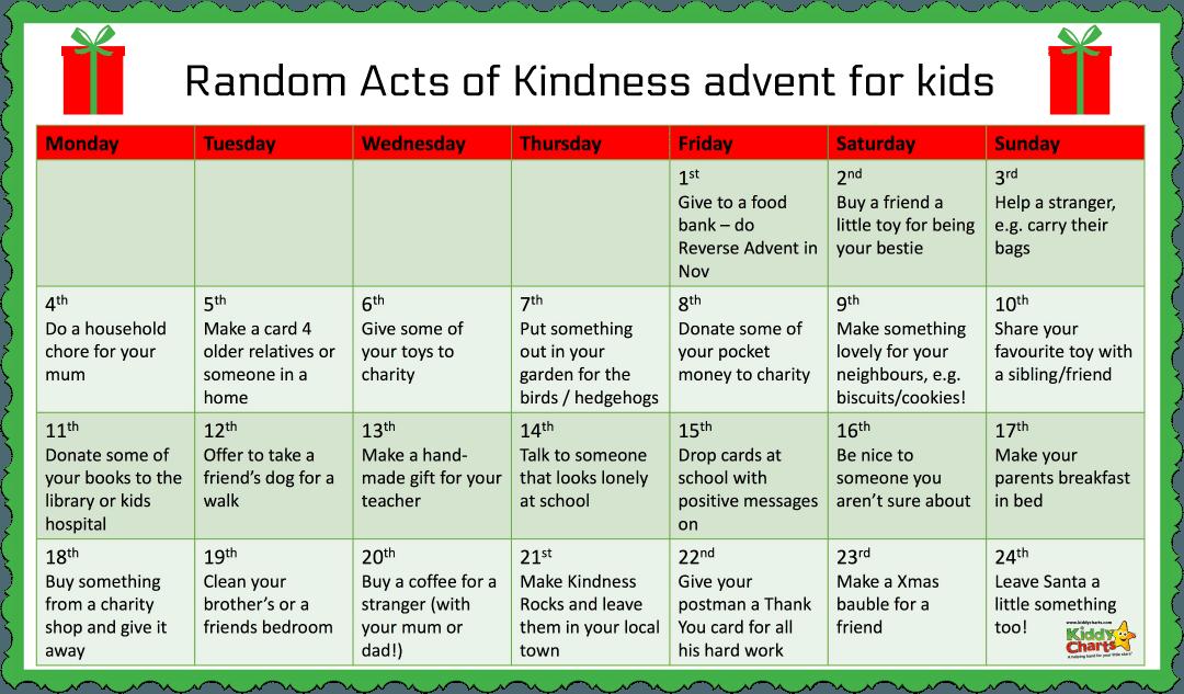 Kids Kindness Calendar : Christmas random acts of kindness advent calendar for the