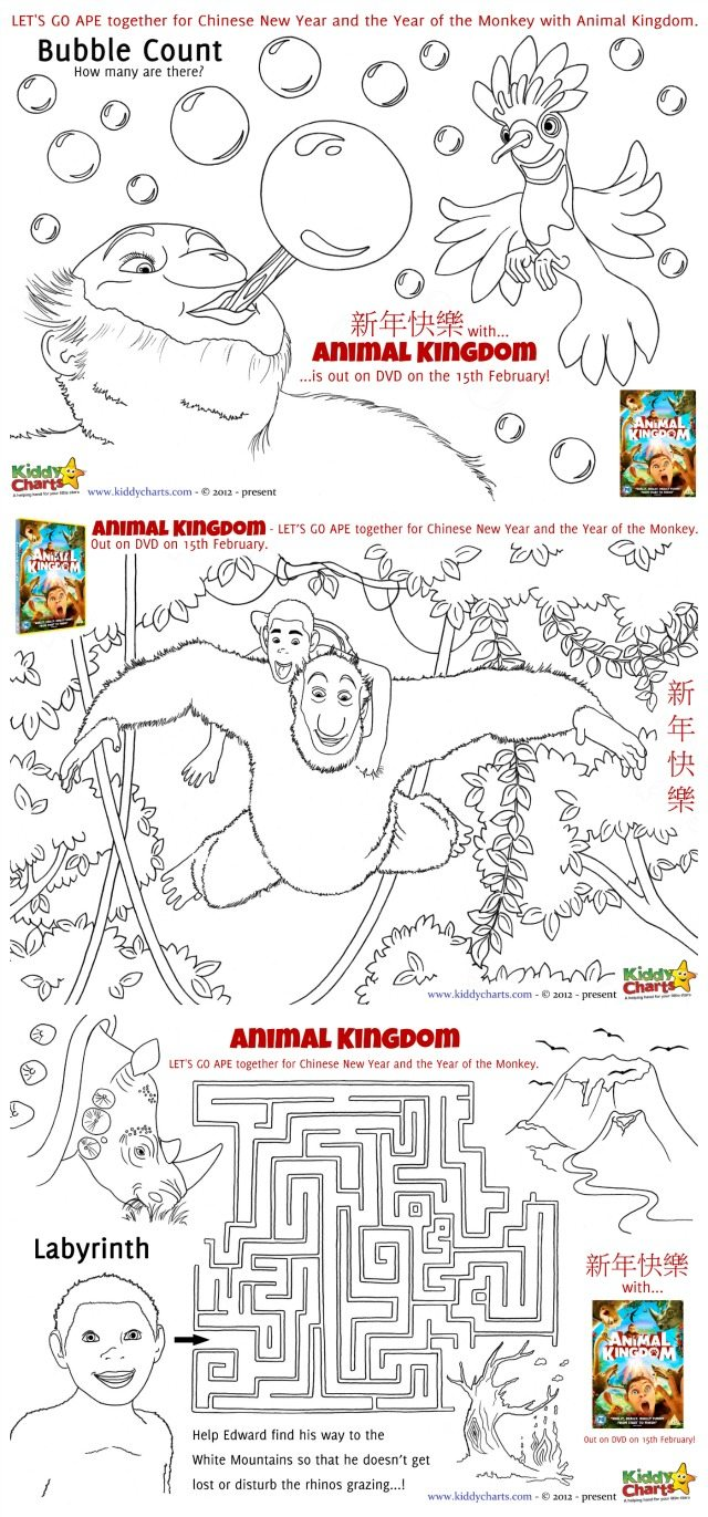 We have four animal kingdom colouring pages and activity sheets to give away to you all today - just download them for free! We have a maze, a bubble count, a wordsearch, and finally a colouring page from the film. Something for all Edward fans.