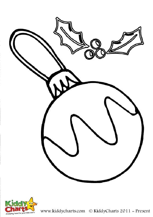 Free bauble and holly colouring page for little ones