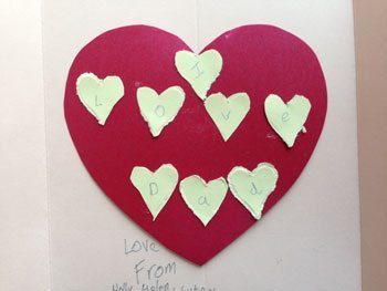 Simple valentines card: Big and little hearts