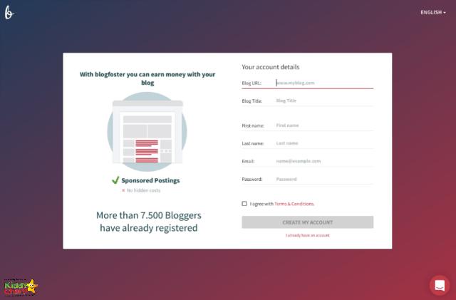 blogfoster UK: Signup is easy on this influencer marketing platform.