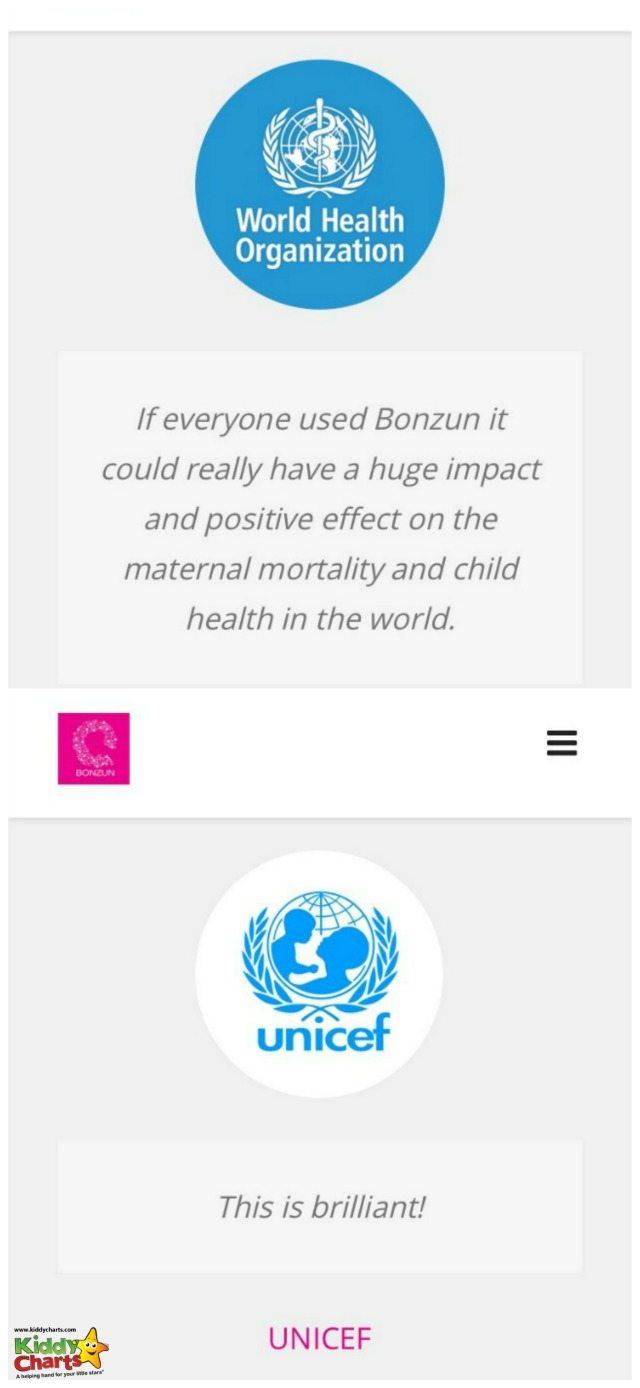 WHO and Unicef endorse the Bonzun week by week pregnancy app.