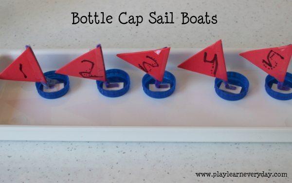 bottle cap sail boats - finished