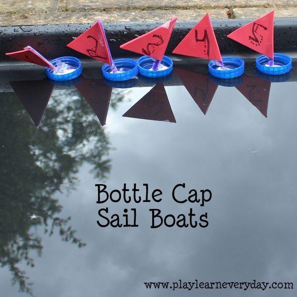 bottle cap sail boats - ready to race