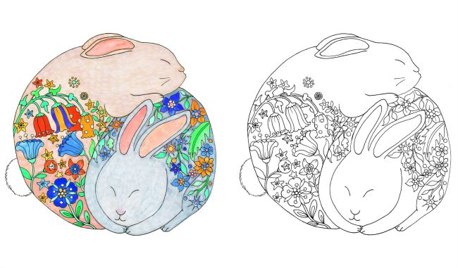 Cute Animal Colouring In : Bunny colouring page from cute animal book kiddycharts