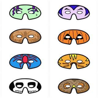 Eight wonderful simple halloween masks for cuts to cut out and add to their costumes.