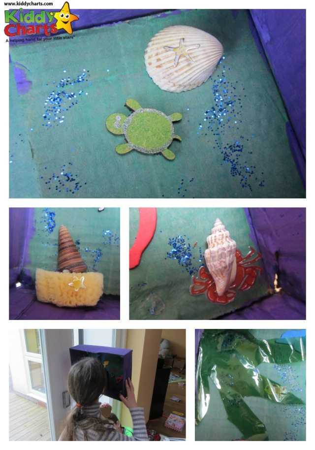 Part of the fun with this cardboard box craft is to let the kids go wild with their imagination making the scene through the snorkel - do let them at it!