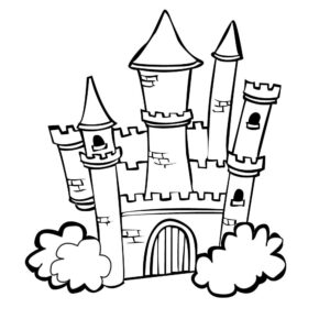 Free castle colouring page