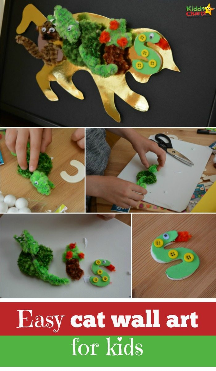 This is a really simple cat craft for kids - and a perfect piece of wall art to put in their room or for a gift - whatever works best for you. My kids have put it in the pets place, to remind them where they need to eat!