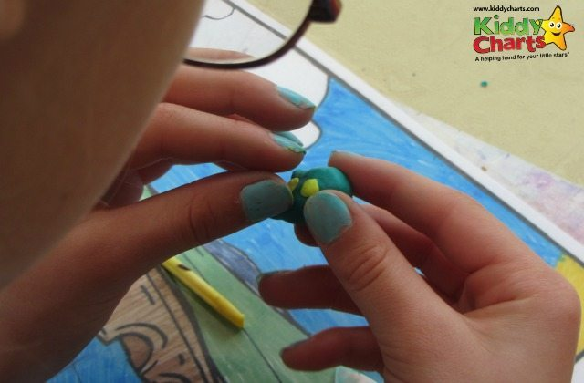 Our little fimo fishes spots are really easy to do - just use squashed balls of fimo!