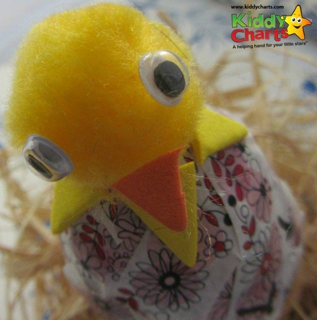 Here is your chick and the cracking decorated egg - can you see what effect we are trying to achieve here?