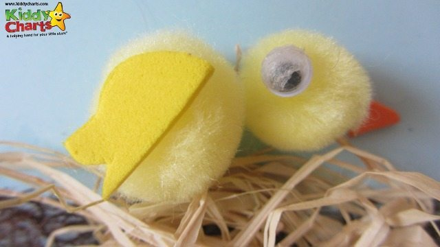 Gorgeous chick, which is simple to create, on our easter card for kids - an easy craft for us all at Easter.