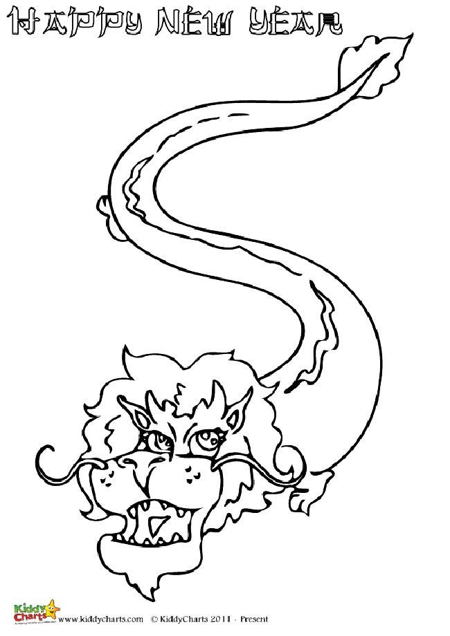A great design for Chinese New Year of a lovely Chinese Dragon. Perfect for kids to color in.