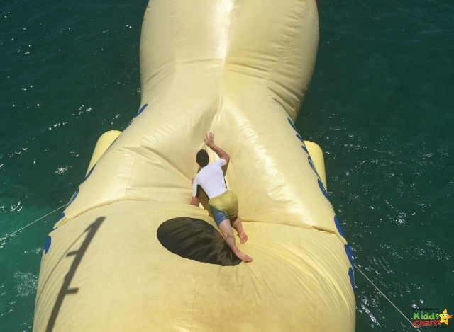 The Blob is a fun activity for older kids and adults on D Boat in Antigua - but it isn't easy to climb at all!